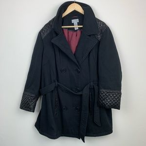 Catherine's Belted Double Breasted Peacoat 2X
